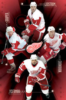 "Detroit Red Wings ""Big Four"" Poster (Lidstrom, Yzerman, Shanahan, Draper) - Costacos Sports 2005"