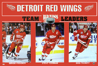 "Detroit Red Wings ""Team Leaders 1993"" (Yzerman, Probert, Fedorov) Poster - Starline"