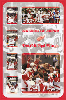 "Detroit Red Wings ""Raise the Cup"" 2002 Stanley Cup Champions Commemorative Poster - Costacos"