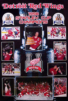"Detroit Red Wings ""Back-2-Back"" Stanley Cup Champions 1997-98 Poster - Norman James Corp."
