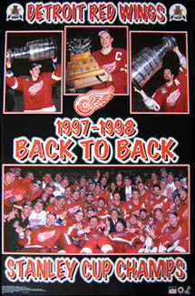 Detroit Red Wings Back-to-Back Stanley Cup Champs 1997-98 Commemorative Poster - Starline