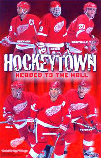 "Detroit Red Wings ""Headed to the Hall"" 6 Legends NHL Hockey Poster - Starline 2001"