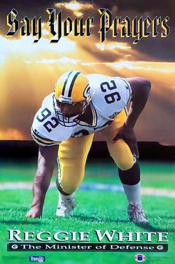 "Reggie White ""Say Your Prayers"" Green Bay Packers NFL Football Poster - Costacos Brothers 1993"