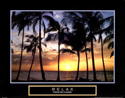 "Beach at Sunset ""Relax"" Inspirational Poster - Front Line"