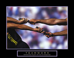 "Relay Running ""Teamwork"" Motivational Poster - Front Line"