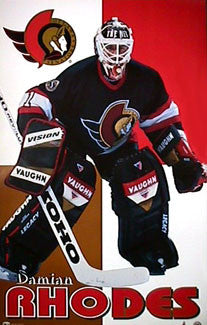 "Damian Rhodes ""Action"" Ottawa Senators Poster - Norman James Corp. 1997"
