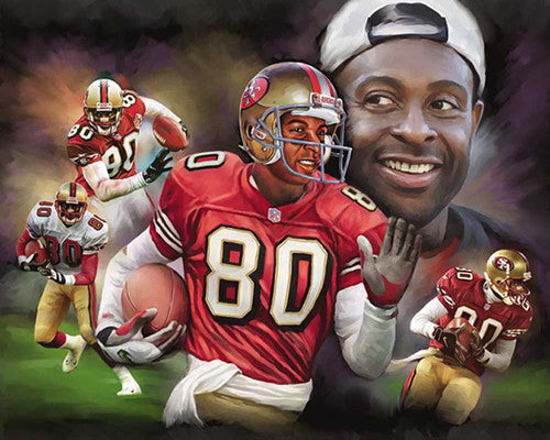 "Jerry Rice ""The Greatest"" Commemorative Art Print by Wishum Gregory"