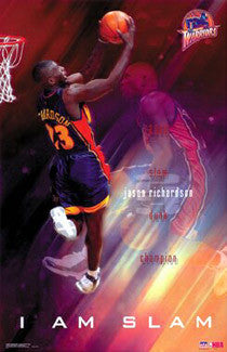 "Jason Richardson ""I Am Slam"" Golden State Warriors Poster - Starline 2002"