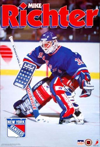 "Mike Richter ""Cage Mask"" (1992) Classic New York Rangers Poster - Starline Inc."