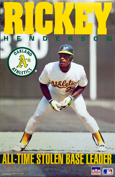 Rickey Henderson All-Time Stolen Base Leader Oakland A's Poster - Starline 1991