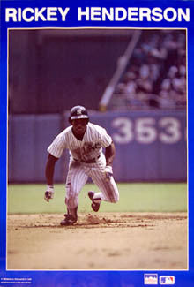 "Rickey Henderson ""Run"" New York Yankees Poster - Starline 1988"