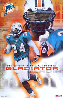 "Ricky Williams ""Gladiator"" Miami Dolphins Poster - Starline 2002"