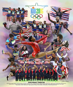 "Team USA African-American Women Athletes ""Sisters in Motion"" (Rio 2016) Poster Print - Wishum G."