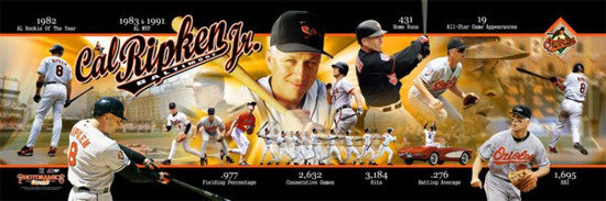 Cal Ripken Jr. Baltimore Orioles Career Retrospective Premium Poster Print - Photofile Inc.