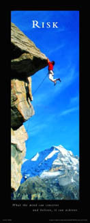 "Rock Climbing ""Risk"" (Cliffhanger) Motivational Poster - Front Line (12x36)"