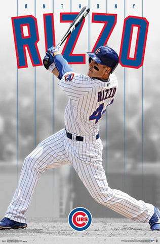 "Anthony Rizzo ""Slugger"" Chicago Cubs Baseball Action Wall Poster - Trends 2016"