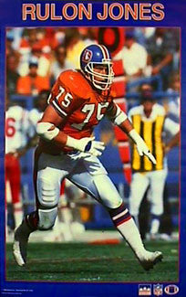 "Rulon Jones ""Action"" Denver Broncos NFL Action Poster - Starline Inc. 1988"