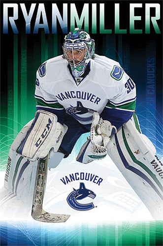 "Ryan Miller ""Intensity"" Vancouver Canucks NHL Hockey Poster - Costacos 2015"