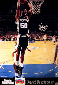 "David Robinson ""Two-Hand Slam"" San Antonio Spurs Signature Series Poster - Marketcom/SI 1992"