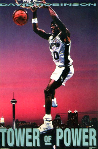 "David Robinson ""Tower of Power"" San Antonio Spurs Poster - Costacos Brothers 1991"