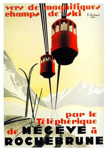 Rochebrune Cable Cars c.1933 Vintage Skiing Poster Reprint - Editions Clouets
