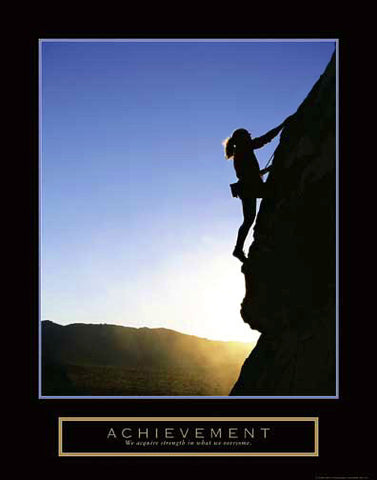 "Women's Rock Climbing ""Achievement"" Motivational Poster - Front Line"