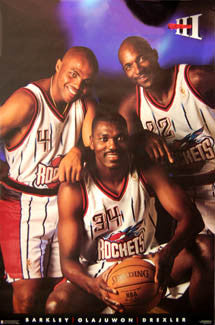 "Houston Rockets ""Apollo III"" Poster (Barkley, Drexler, Olajuwon) - Costacos 1996"