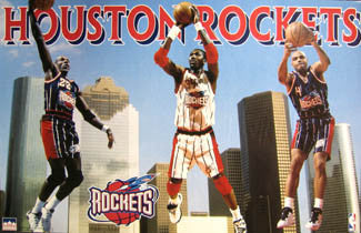 "Houston Rockets ""Skyline"" Poster (Drexler, Olajuwon, Barkley) - Starline 1997"