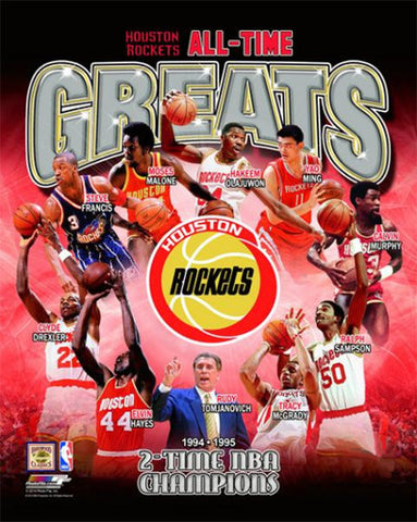 Houston Rockets All-Time Greats (10 Legends, 2 Championships) Premium Poster Print - Photofile