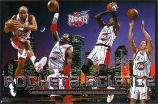 "Houston Rockets ""Rockets Science"" Poster (Barkley, Olajuwon, Drexler, Maloney) - Costacos 1997"