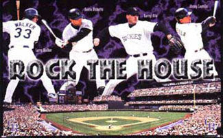 "Colorado Rockies ""Rock the House"" (Walker, Bichette, Castilla, Kile) Poster - Costacos 1998"