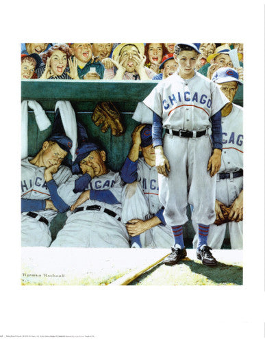 "Classic Baseball ""The Dugout"" by Norman Rockwell Premium Poster - Shorewood Fine Art"