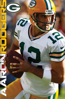 "Aaron Rodgers ""Serious Game"" Green Bay Packers NFL Action Poster - Costacos 2012"