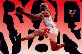 "Dennis Rodman ""Airborn"" Chicago Bulls Posters - Costacos Brothers 1996"