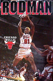 "Dennis Rodman ""Rebound"" Chicago Bulls Action Poster - Starline 1996"