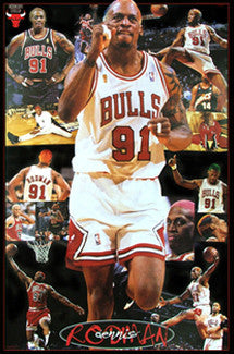 "Dennis Rodman ""Chicago Star"" Chicago Bulls NBA Poster - Costacos 1997"