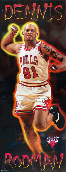"Dennis Rodman ""Big-Time"" HUGE DOOR-SIZED Chicago Bulls NBA Poster - Costacos 1996"