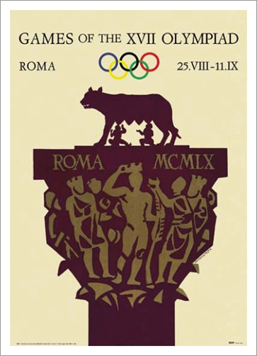 Rome 1960 Summer Olympic Games Official Poster Reprint - Olympic Museum
