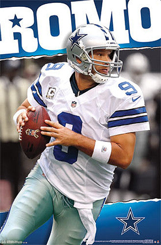 "Tony Romo ""Drop Back"" Dallas Cowboys Official NFL Football Action Poster - Costacos 2013"