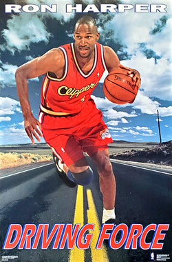"Ron Harper ""Driving Force"" Los Angeles Clippers NBA Basketball Action Poster - Costacos Brothers 1992"