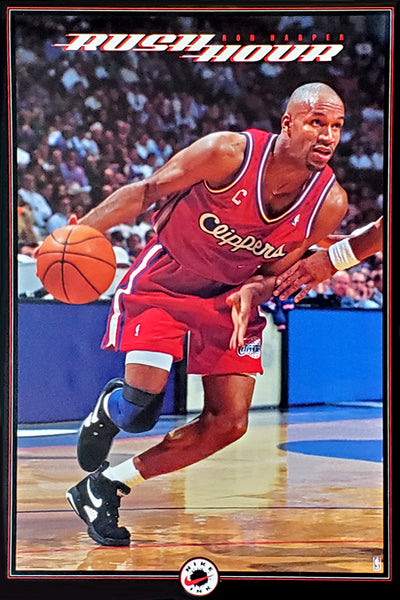 "Ron Harper ""Rush Hour"" Los Angeles Clippers NBA Basketball Action Poster - Nike Inc. 1993"
