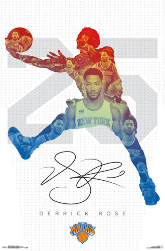 "Derrick Rose ""Signature 25"" New York Knicks NBA Action Wall Poster - Trends International 2016"