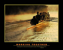 "Rowing ""Working Together"" (8-Man Sculls) Motivational Poster - Eurographics Inc."