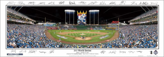 Kansas City Royals 2015 World Series Kauffman Stadium Game 1 Panoramic Poster w/25 Facs. Sigs.