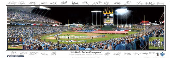 "Kansas City Royals ""World Series Majesty 2015"" Panoramic Poster Print w/25 Facs. Signatures (392A)"
