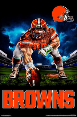 "Cleveland Browns ""Ferocious Football"" NFL Theme Art Poster - Liquid Blue/Trends Int'l."