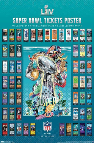 Super Bowl LIV (Miami 2020) Official SUPER TICKETS Game History Poster - Trends International