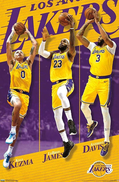 "Los Angeles Lakers ""Golden Trio"" (Kuzma, LeBron, Davis) NBA Basketball Action Poster - Trends 2019-20"