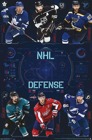 NHL Defensemen Superstars 2019-20 Poster (Reilly, Doughty, Pietrangelo, Hedman, Carlson, Karlsson) - Trends Int'l.