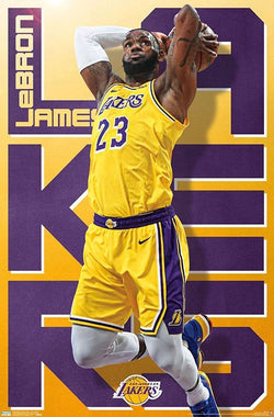 "LeBron James ""Two-Hand Slam"" Los Angeles Lakers Official NBA Poster - Trends 2019"
